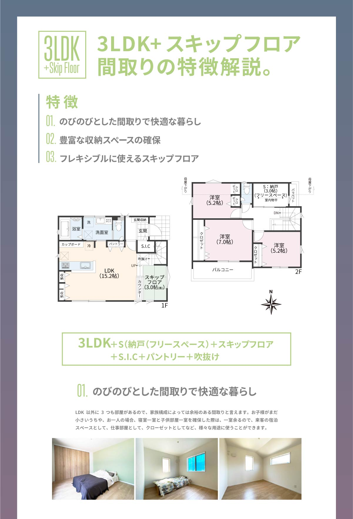 美都住販 街かど モデルハウス 3LDK+スキップフロア間取りの特徴解説。 特徴 01.のびのびとした間取りで快適な暮らし 02.豊富な収納スペースの確保 03.フレキシブルに使えるスキップフロア 3LDK+S(納戸(フリースペース)+スキップフロア+S.I.C+パントリー+吹抜け LDK以外に3つも部屋があるので、家族構成によっては余裕のある間取りと言えます。お子様がまだ小さいうちや、お一人の場合、寝室一室と子供部屋一室を確保した際は、一室余るので、来客の宿泊スペースとして、仕事部屋として、クローゼットとしてなど、様々な用途に使うことができます。